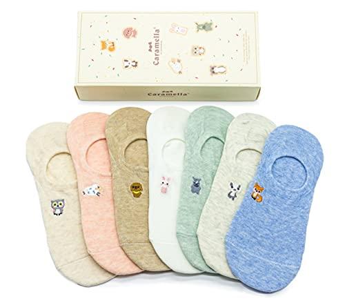 süße lustige Sommer Füßlinge und Sneaker Socken mit süßen Tier Muster, Zoo Geschenkbox für Frauen und Mädchen, tolle Geschenkidee für besonderen Anlass, EU 35-40, 7 Paar bunte Socken (Zoo Füßlinge)
