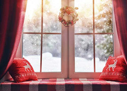 AIIKES 2.4x1.8M/8x6FT Navidad Guirnalda Decoración Bahía Ventana Nieve Escénico Fondos de Fotografía Personalizado Telones de Fondo de Fotografía por Estudio Fotográfico 10-816