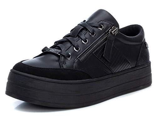 XTI - Zapatilla Casual para Mujer - Cierre con Cordones - Color Negro - Talla 39
