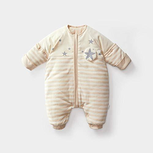 nohbi Schlafsaecke aus Bio Baumwolle,Herbst und Winter Dicke Baumwolle Baby Beine Schlafsack, abnehmbare halbe Ärmel Kinder Anti-Kick, 75cm,Schlafsäcke Baby Winter