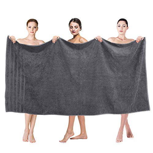 Premium, Luxury Hotel & Spa Quality, 35x70 Extra Large Jumbo Size Bath Towel, Bath Sheet Cotton for Maximum Softness and Absorbency by American Soft Linen, [Worth $34.95] Grey
