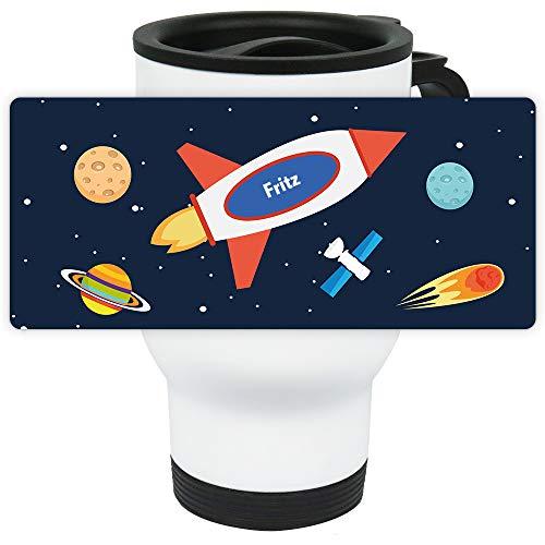 Eurofoto Thermo-Becher mit Namen Fritz und Weltraum-Motiv für Jungen | Thermo-Tasse | Isolier-Becher mit Henkel aus Edelstahl