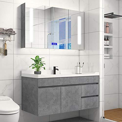 FJNS Armario de Baño con Espejo e Iluminado LED, gabinete con Espejo...