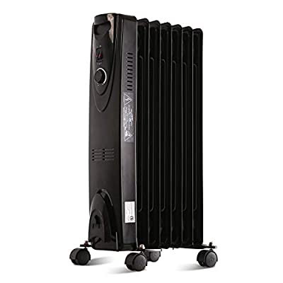 1500W Oil Filled Radiator Heater, Portable Electric Space Heater with Thermostat, Perfect Radiator Heaters for Home/Office (Black)