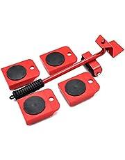 Meubels bewegende rolset, meubelheffer duurzame zware toestel meubelen hef- en bewegende gereedschapset voor zwaar meubilair en toestel tillen, 1 hijstang en 4 meubels bewegende rollen