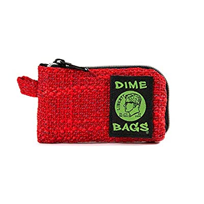 Dime Bags Padded Pouch with Soft Padded Interior | Protective Hemp Pouch for Glass with Interior Smell Proof Pocket (Red, 5-Inch) from