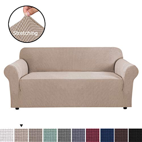 BellaHills Sofa Covers Super Stretch Sofa Slipcover Spandex Non Slip Soft Couch Sofa Cover, Washable Furniture Protector with Non Skid Foam and Elastic Bottom for Kids, Pets (3 Seater, Sand)
