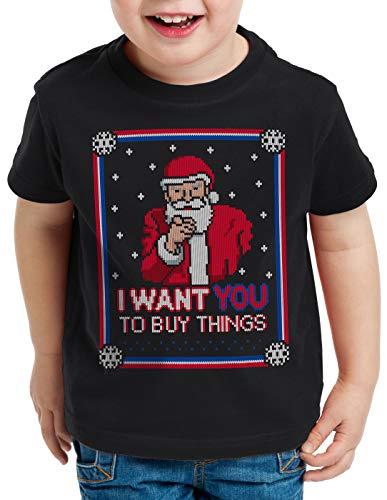 style3 Buy Things Ugly Sweater T-Shirt für Kinder weihnachtsmann Nikolaus x-Mas Pulli, Größe:152