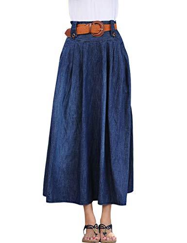 Omoone Women's Elastic High Waist Midi Long A Line Denim Pleated Swing Skirt (Blue Style 01, L)