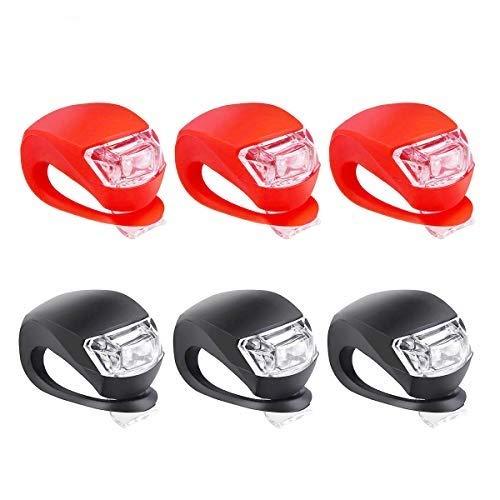 LED Fahrradlicht Set, Silikon Led Fahrrad Front-und Rücklicht, CZSMART Radfahren Lampe Fahrradlichter Fahrradlampe Fahrradlich Notfall Nebelscheinwerfer Für Fahrrad 6pcs (Blue,Red)