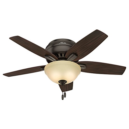 hunter fan low profiles Hunter Newsome Indoor Low Profile Ceiling Fan with LED Light and Pull Chain Control, 42