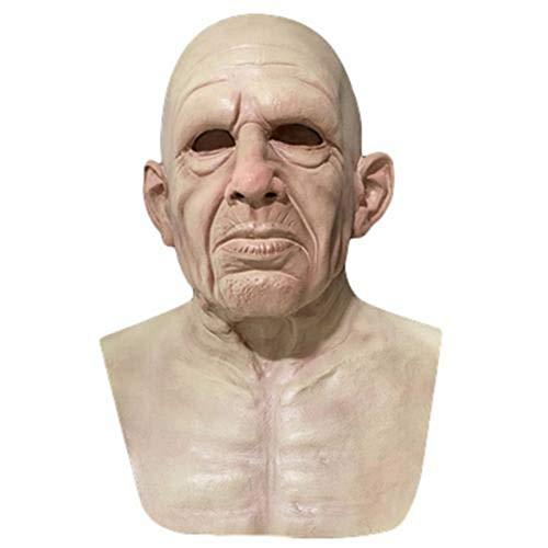 Heoolstranger Máscara Realista, Máscara Anciano Arrugada Completa Látex Halloween para Adultos con Cabello Rizado, Disfraz Zombie Aterrador para Halloween, Navidad, Pascua, Juegos rol