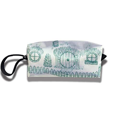 Borsa per matita Borsa per trucco London Calke Abbey Blue Toile Borsa per cosmetici da donna Borsa durevole con cerniera Borsa per organizer