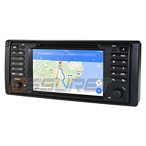 Android 10 Quad Core 7 Zoll 1 Din DVD-Player GPS Navigator Auto Stereo Kompatibel mit BMW 5er E39 X5 E53 M5 7er E38 Bluetooth 4.0 Radio USB SD Play Store WiFi CANBUS SWC
