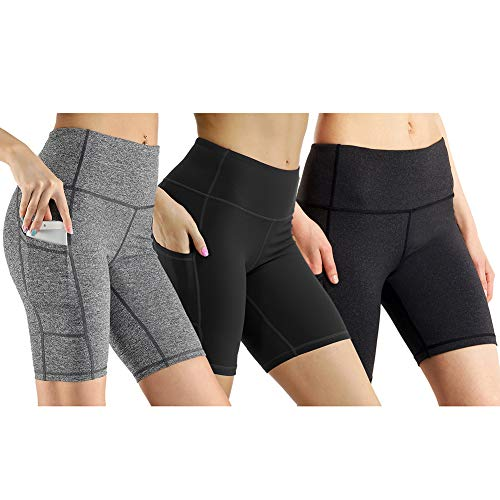 High Waist Out Pocket Yoga Short Tummy Control Workout Running Athletic Non See-Through Active Shorts (S, 3 Pack Black/Dark Grey/Light Grey)