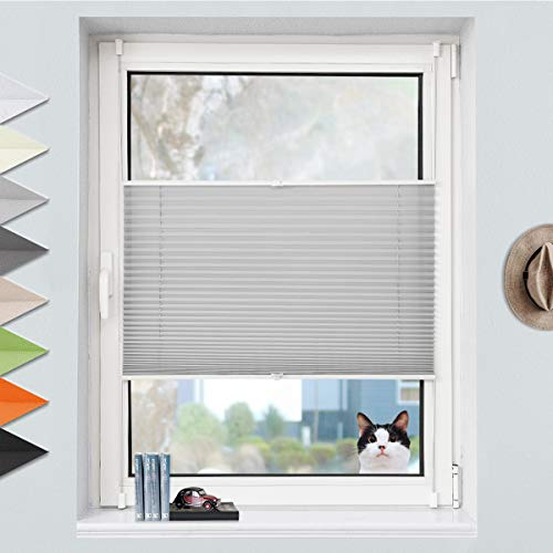 Grandekor Plissee Klemmfix Plisseerollo ohne Bohren (105x130cm Hellgrau), Fensterrollo Faltrollo Easyfix lichtdurchlässig Sicht- & Sonnenschutz für Fenster & Tür