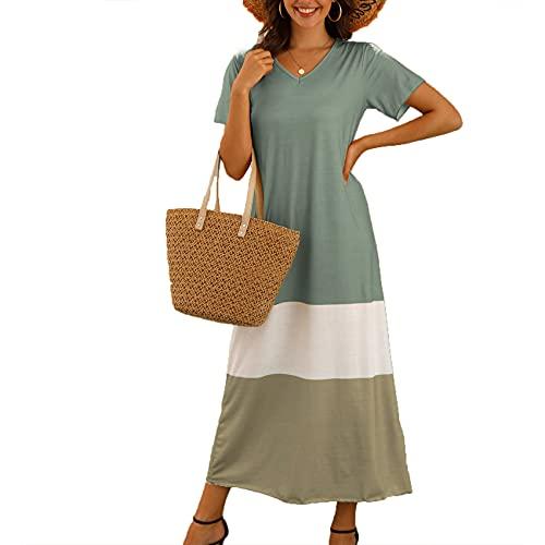 XYJD Lente en zomer vrouwen casual trui V-hals drie-kleur stiksels losse korte mouwen lange jurk vrouwen - grijs - 5XL