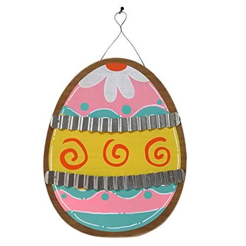 UEXCN Ostereier-Dekorationen, hölzerne Wellpappe zum Aufhängen, Tafel für Frühlings-Dekoration, Dekoration für Zuhause