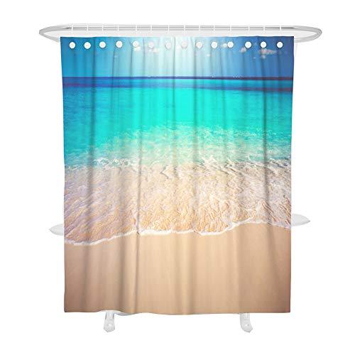 Fansu Duschvorhang Anti-Schimmel, 3D Drucken 100prozent Polyester Bad Vorhang Wasserdicht Anti-Bakteriell mit C-Form Kunststoff Haken mit 12 Ringe für Badzimmer (90x180cm,Strand)