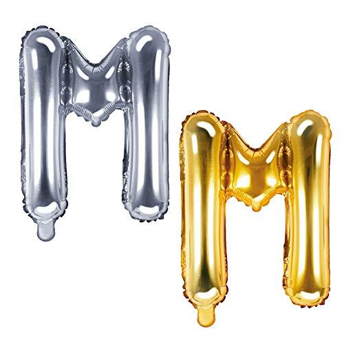 DekoHaus Folienballons Buchstaben / Zahlen Höhe 35 cm Farben: Gold oder Silber (M, Silber)