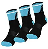 Fast Cycles – Pack de 3 calcetines deportivos transpirables para ciclistas– Calcetines para hacer deporte, para hombre y mujer Para Mountain Biking, Spinning, Fitness, Tenis black/blue 40-44