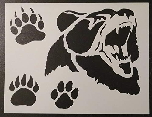 Reusable Sturdy Stencil Grizzly Brown Bear Face Paw Print Paws Foot 11' x 8.5' Stencil Logo Cut Stencil Sheet (not Paper) Arts and Crafts Material Scrapbooking for Airbrush Painting Drawing