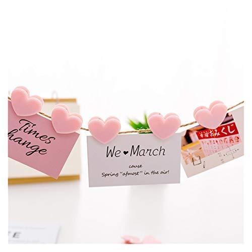 Imanes decorativos Mini love amor clips rosa plástico suministros de oficina rosa clips refrigerador imán pegatinas papel foto clavija casera decoración accesorio decoración ( Color : Love clips 5pc )