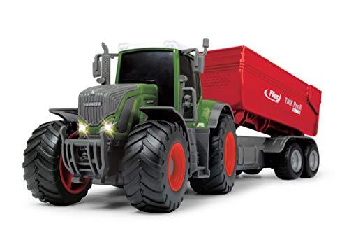 Dickie Toys Fendt 939 Vario Spielzeugtraktor mit Fliegl Anhänger, Bauernhof Spielzeug, Heben und Senken des Fliegl TMK Anhängers, Heckklappe zum Öffnen, Licht & Sound, inkl. Batterien, 41 cm
