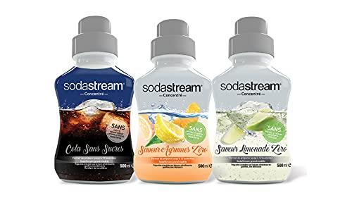 Sodastream Lot de 3 Concentrés Light Saveur Cola Zéro/Limonade Zéro/Agrumes Zéro – Sans Sucres...