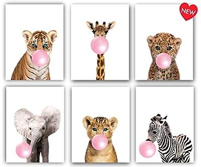 Designs by Maria Inc. Safari Pink Bubblegum Baby Animals Nursery Decor Art - Set of 6 (UNFRAMED) Wall Prints 8x10 (Pink)