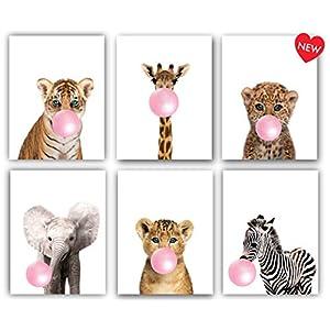 Safari Pink Bubblegum Baby Animals Nursery Decor Art – Set of 6 (UNFRAMED) Wall Prints 8×10 (Pink)