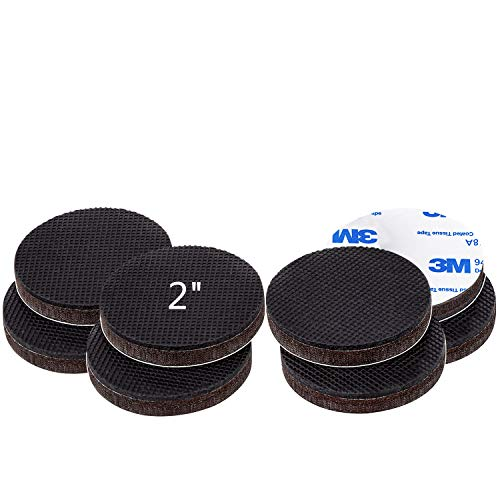 Non Slip Furniture Rubber Pads 2 inch 8 Pieces Round Anti Slip Furniture Pads Hardwood Sofa Bed Stopper Self Adhesive Anti Skid 7mm Thick Furniture Protector for Hardwood Floor