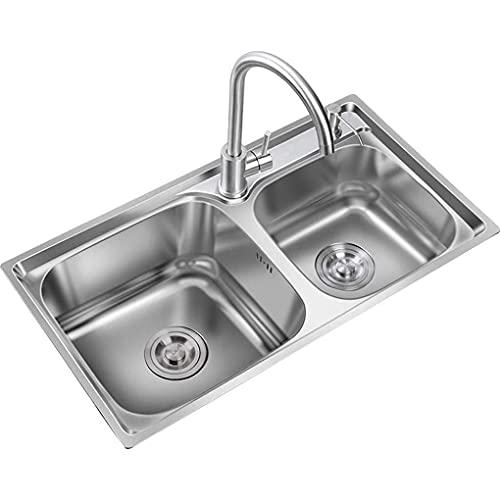 FCWMD Fregadero de Cocina de Acero Inoxidable, Fregadero de Piscina para lavavajillas doméstico con desagüe y desbordamiento, Adecuado para gabinete/balcón/Barra de Bar/RV