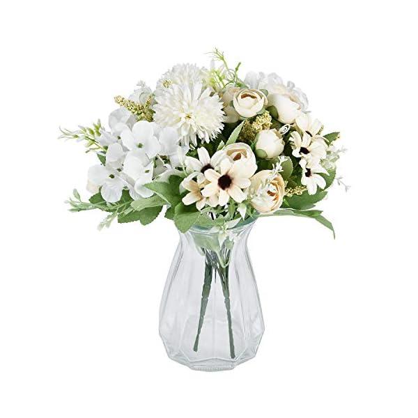 Maustic – Ramo de flores artificiales, 2 unidades, color blanco