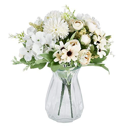 Krelymics Künstliche Blumenstrauß 2 Stück Weiß Fälschung Pfingstrosen Hortensien Nelken Kunstblumen Blumenarrangements für Hochzeits Blumenstrauß Haus Garten Tischdekoration