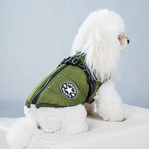 IQQI Large Pet Dog Jacket with Harness Winter Warm Dog Clothes for Labrador Waterproof Big Dog Coat Chihuahua French Bulldog Outfits,Green,L
