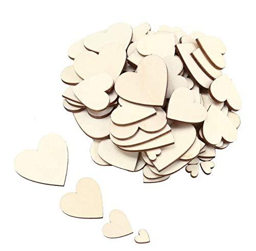 PEPAXON Piezas de madera sin terminar Rebanadas de madera de corazón Etiquetas en blanco de madera para proyectos de manualidades 25MM