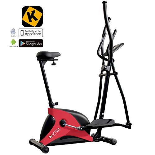 AsVIVA 2in1 Cardio Elliptical Crosstrainer, Heimtrainer (12kg Schwungmasse), Bluetooth Computer (App Nutzung), 8 Widerstandsstufen, flüsterleiser Riemenantrieb, rot
