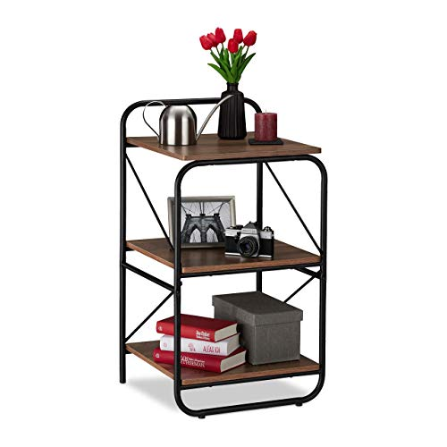 Relaxdays Estantería con Tres estantes, Marco metálico, Mueble de salón, 86,5 x...