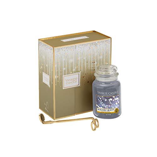 Yankee Candle-Geschenkset mit großer Duftkerze in der Duftrichtung Holiday Lights und Dochtschere