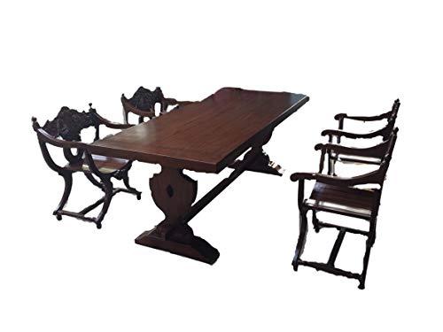 Ridderbord met 6 schaarstoelen + 1 massief houten tafel 220 cm eettafel barok middeleeuwse eetkamerset