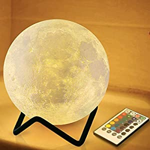 RENOOK 3.15″ Moon Lamp for Kids with Metal Stand, Valentine's Day Gift, Timer Remote Control, 16 Colors 5 Brightness, Night Light