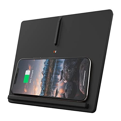 Paobiy El cargador inalámbrico del coche es aplicable para Tesla Modelo Y 2017-2020 panel de accesorios de la consola central,10W Qi carga rápida teléfono cargador pad 3 bobina, para iPhone y Samsung.