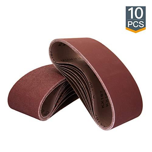 POWERTEC 110450 3 x 21' Sanding Belts | 120 Grit Aluminum Oxide Sanding Belt | Premium Sandpaper For Portable Belt Sander – 10 Pack