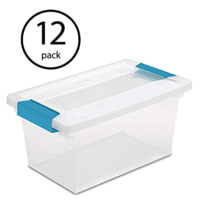 STERILITE Medium Clip Box Clear Home Storage Tote Container with Lid (12 Pack) by Sterilite