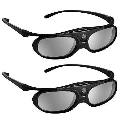 BOBLOV Active Shutter 3D Glasses DLP-Link Rechargeable 144Hz for All 3D DLP Projectors Compatible with Optoma BenQ Sharp Acer Samsung Mitsubishi DLP projectors (Black 2-Pack)