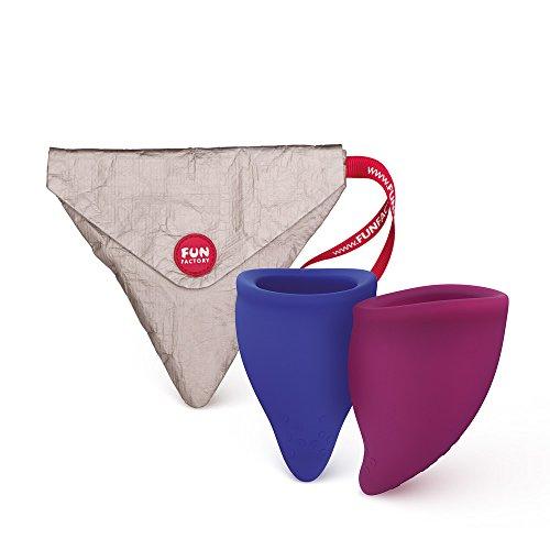 FUN FACTORY FUN CUP SIZE B - Zwei Menstruationstassen Groß inkl. Tasche Silikon (Blau/Lila)