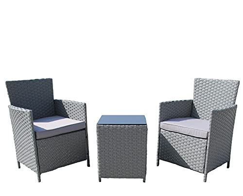 AZRBOPO Rattan Garden Furniture Set, Rattan 3 Piece Bistro Garden Furniture Set | Grey Outdoor Patio Chairs And Steel Table For Al-Fresco Dining, BBQ's