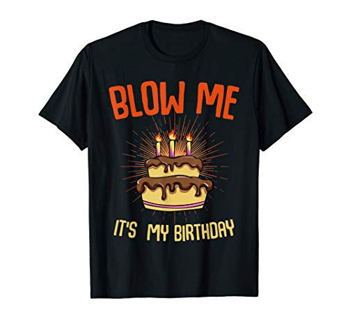 Blow Me It's My Birthday Funny Bday Party Cake T-shirt