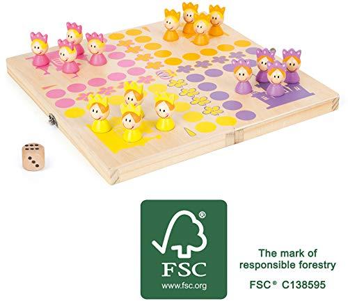 Small Foot 11105 Ludo Prinzessinnen, aus FSC 100%-zertifiziertem Holz, mit praktischer Transportbox für unterwegs Spielzeug, Mehrfarbig